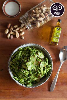 Brazil Nut Pesto Fettuccine with Radish #paleo #glutenfree #grainfree #pasta #dinner #PaleoPorn #recipe