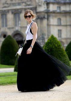 Black Plain Grenadine Draped Puffy Tulle High Waisted Floor Length Fashion Tutu Maxi Skirt