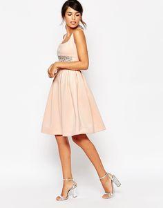 Image 4 ofASOS PETITE Scuba Debutante Midi Dress With Embellished Waist