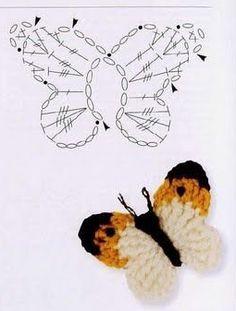 AS RECEITAS DE CROCHÊ: Borboleta de crochê