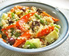 Simple Quinoa Salad  http://www.savvyvegetarian.com/vegetarian-recipes/quinoa-salad.php