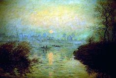 Claude Monet , Puesta de sol en Lavacourt, 1880