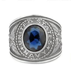 Navy: Mens US Navy Military Service Ring 316L Steel Anchors n Eagles