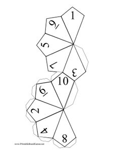 Cut out and tape along the tabs to make a ten-sided die for dice games and for rolling probability in role-playing games such as Dungeons and Dragons. Free to download and print