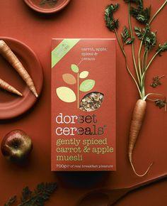 gently spiced carrot & apple muesli Tea Packaging, Food Packaging Design, Bottle Packaging, Branding Design, Dorset Cereals, Food Flatlay, Portfolio Website Design, Flower Tea, One Design