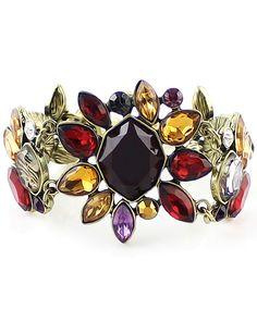 Multicolor Gemstone Gold Link Bracelet 8.93