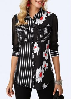 Women Fashion Black Floral Print Blouse Button Up Curved Hem Printed Black Shirt Stylish Tops For Girls, Trendy Tops For Women, Blouses For Women, Creation Couture, Red Blouses, Printed Blouse, Fashion Outfits, Womens Fashion, Blouse Designs