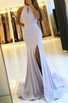 Backless Mermaid Long Prom Dresses with Side Slit,Simple Party Dresses PG510#mermaid #promdress #parties