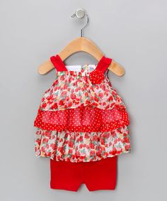 Take a look at this Red Ruffle Bike Top & Shorts by Baby Essentials on #zulily today!