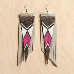 leather earrings / navajo by WAYstore on Etsy, $17.00