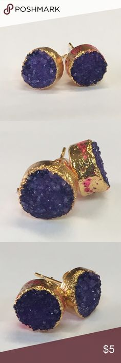 Purple and Gold Druzy Earrings *DEFECTIVE* 10MM ROUND PURPLE AGATE DRUZY GEODE STUD EARRINGS GOLD PLATED - This listing is for exact item, but the photo does not show actual size. Please understand there may be slight color difference due to the lighting and monitor settings.  Please check the photo carefully or contact me before you buy it. (I bought this item with the intention of reselling, but it's defective. Note the red marks on the gold settings. Instead of throwing away I thought I'd…