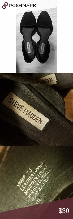"""Steve Madden - """"Vamp"""" black suede - 7.5 Black suede brings a luxe touch to a classic d'Orsay silhouette flat.   Good used condition.   Leather upper  Man made lining  Rubber outsole Steve Madden Shoes Flats & Loafers"""