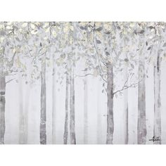 Yosemite Home Decor Grey and Yellow Trees Painting Print on Wrapped Canvas