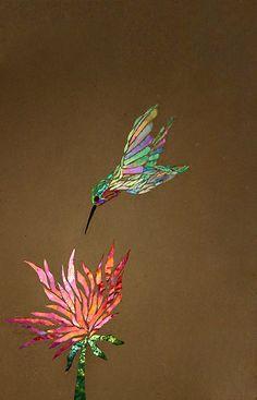 oiseau et fleur