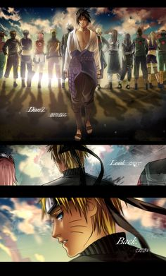 Sasuke and Naruto: Don't Look Back.                   There's no way naruto won't look back..he considers sasuke his brother..his family