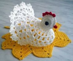 How to crochet chicken - Handmade-Paradise Crochet Fairy, Crochet Birds, Easter Crochet, Thread Crochet, Crochet Motif, Crochet Doilies, Crochet Toys, Chicken Pattern, Doilies Crochet