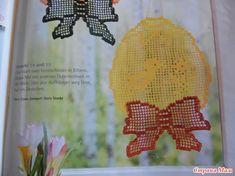 Пасхальные  салфетки крючком, схемы. Easter Crochet, Table Runners, Easter Eggs, Napkins, Tableware, Backpack, Mantas Crochet, Dinnerware, Towels