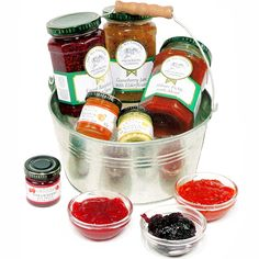 Preserving Pan A selection of our very finest Jams, Preserves, Chutneys and Pickles Presented in this galvanised 'preserving pan' Food Hampers, Christmas Hamper, Chutneys, Preserves, Pickles, Raspberry, Fruit, The Fruit, Christmas Baskets