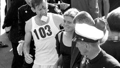 Bobbi Gibb after completing the 1967 Boston Marathon.