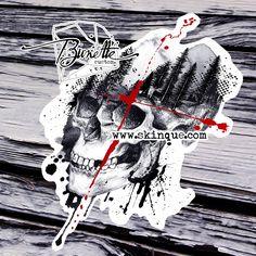 Abstratc skull forest tree tattoo design illustration bunette