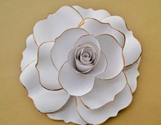Giant White Paper Rose, White Flower Blooms, Extra Large Paper Rose, Spring Summer Wedding Decor, Vintage Paper Flower, Big Paper Flower by ThePurpleDream on Etsy