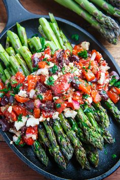 Grilled Asparagus with Marinated Roasted Red Peppers, Feta and Kalamata Olives on Closet Cooking Side Dish Recipes, Vegetable Recipes, Vegetarian Recipes, Cooking Recipes, Healthy Recipes, Grilling Recipes, Grilled Asparagus Recipes, Marinated Asparagus, Vegetarian