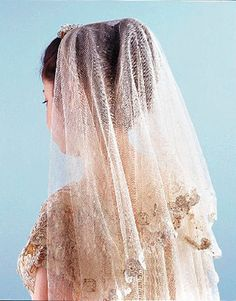 A beautiful antique lace veil is the perfect thing to top off you wedding look, but they can be expensive. My suggestion is to get a new veil, and trim it with antique lace. Vintage Veils, Vintage Bridal, Vintage Dresses, Vintage Lace, Wedding Veils, Bridal Veils, Dresser, Wedding Dress Styles, Bridal Accessories