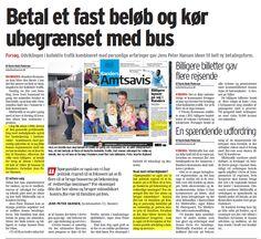 Rigtig fin omtale - endda med forside placering - af mit forslag om flat rate bus billetter.     Læs mere om ideen i min pressemeddelelse fra 2009 Fyldte busser uden at tømme kommune kassen http://www.venstreiranders.dk/pressemeddelelser/fyldte-busser-uden-at-t%C3%B8mme-kommunekassen/ eller se videoen http://youtu.be/Mqu2iEqB29c?t=39s