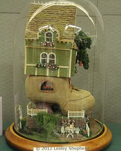 "1:48 Scale Projects from the Fall 2012 Seattle Dollhouse Show: Side view of ""Old Woman Lives in a Shoe"" by Rosemary Shipman"