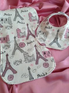 Paris print baby bib and burp cloth set by DazzlingCinsations, $12.00
