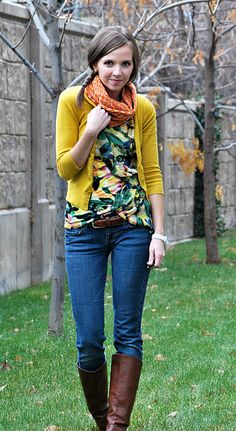 love the yellow cardigan and boots.
