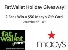 $50 Macy's Gift Card 2 Winners Giveaway ends 12/8