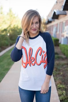 OK City cursive baseball t-shirt blue/white