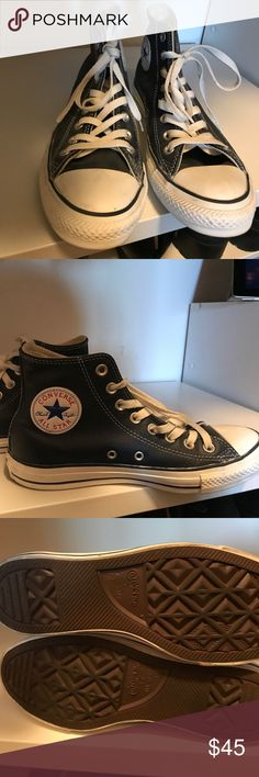 Converse Leather Dark blue High top Dark blue leather high top converse, brand new, never worn, coming from a smoke free home. Comfortable, fashionable, and never goes out of style. This is a 6 1/2 youth in boys so a 8 in woman's. ❌NO TRADES‼️ Converse Shoes Sneakers