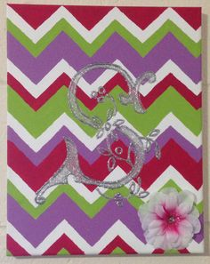 Chevron painted canvas, silver glitter letter S. Cute dorm room craft