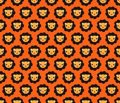 Retro circus lions  fabric by littlesmilemakers on Spoonflower - custom fabric