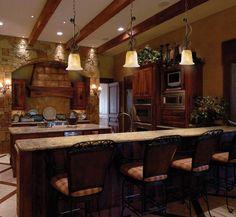 love that it's rustic, yet elegant- Rustic lodge kitchen decorating idea.