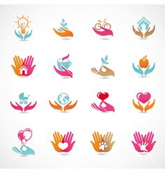 Buy 16 vector signs of love and care by venimo on GraphicRiver. Vector set with signs of love and care – collection with abstract icons and logos. AI and EPS files Cv Photoshop, Logo Mano, Logo Abstrait, Massage Logo, Plant Logos, Family Logo, Branding Design, Logo Design, Eco Kids