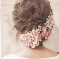 wedding hair hair styles for medium hair length hair for bridesmaids hair style girl for wedding hair hair styles for medium hair length wedding hair updos hair curly Indian Wedding Hairstyles, Bride Hairstyles, Flower Hairstyles, Dress Hairstyles, Hairstyle Ideas, Wedding Hair And Makeup, Bridal Makeup, Wedding Nails, Hair Wedding