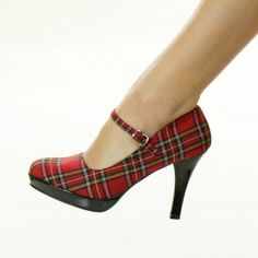 Red Plaid Rockabilly Pin Up Mary Jane Heels School Girl