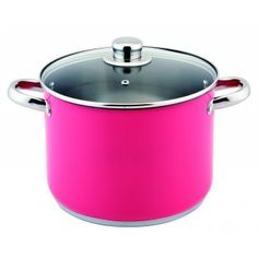 Stockpot Delivered in a Contemporary Pink Colour 9 Litre Capacity Stainless Steel Body Encapsulated Base Spot Welded Handles Glass Lids Safely Used Upto Gas Mark 4 /