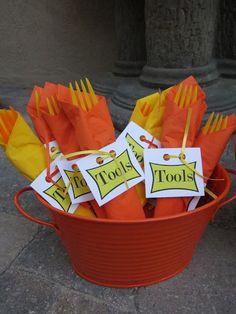"""I love planning parties and this Construction Themed Party was so fun to do.  I wanted to come up with something cleaver for the plasticware, I thought this was super cute, to make the utencils the """"Tools"""". If you want a copy of the """"tools"""" tag just email me at foxysdomesticside@gmail.com for it!"""