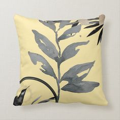 Yellow & Gray Artistic Watercolor Leaves Throw Pillow - tap, personalize, buy right now! #ThrowPillow #yellow, #gray, #abstract, #yellow #and Modern Decorative Pillows, Modern Throw Pillows, Accent Pillows, Shades Of Burgundy, Shades Of Yellow, Modern Color Palette, Geometric Circle, Watercolor Leaves