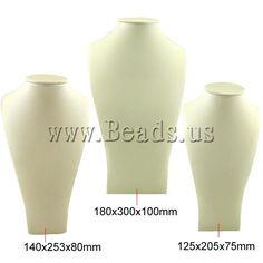 Présentoir en cuir pour collier, avec carton, buste, beige, 125x203x75mm, 140x253x80mm, 180x300x100mm