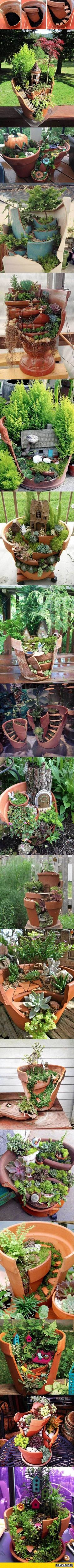 Nice 23 Diy Fairy Garden Ideas Homemade ideacoration.co/... You end up getting a 3 tiered garden look which is both stunning and space saving.