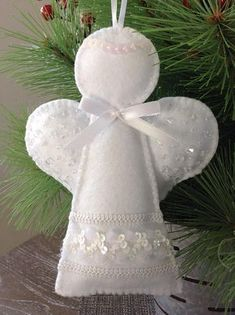 angel ornament white angel decorative angel hanging angel felt christmas decorations diy christmas - Christmas Angel Decorations