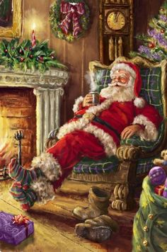Santa Claus enjoying a cup of cocoa beside the fire. I miss believing in Santa Christmas Scenes, Santa Christmas, Christmas Images, Winter Christmas, All Things Christmas, Christmas Holidays, Christmas Crafts, Christmas Decorations, Father Christmas