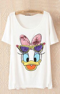 Sequined Donald Duck Printing Casual T-shirt Stylish Toddler Girl, Toddler Boy Fashion, Kids Fashion, Pajama Outfits, Disney Outfits, Kids Outfits, Duck Shirt, Mickey Shirt, Cute Pajamas