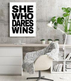 Modern Office Wall Art Digital Download Printable by KNS Digital #shewhodareswins #instantwallart #motivationalquote #inspirationalprint #mompreneurposter #printableart #minimalistofficedecor #digitaldownload #femaleempowerment #feministsign