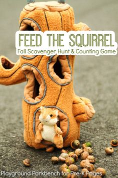 Teach your preschooler number recognition and one-to-one correspondence with this simple counting game for preschool - Feed the Squirrel Art Activities For Toddlers, Eyfs Activities, Preschool Arts And Crafts, Gross Motor Activities, Preschool Games, Autumn Activities, Games For Kids, Learning Activities, Space Activities